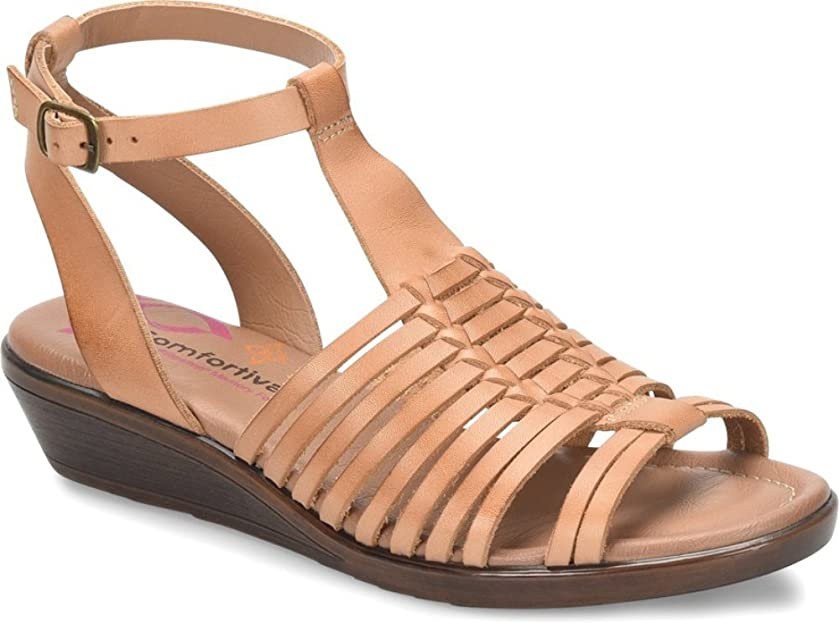 Comfortiva Womens Farina Leather Open Toe Beach Ankle Strap Sandals