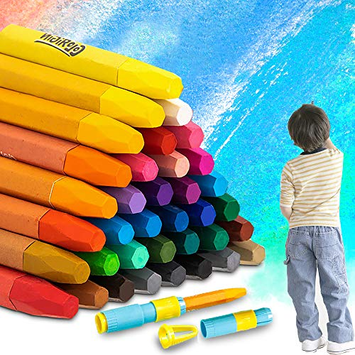 iMustech Oil Pastels Set Non Toxic Crayons for Kids 36 Assorted Colors Soft Chalk Pastels School Supplies Art Tools for Artists & Adults, Pastel Holders and Sharpeners as Bonus