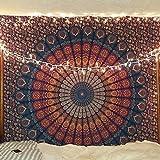 Craftozone Sábana de algodón de tapiz multicolor Mandala Tapiz indio Doble (230X220 CMS) Azul oscuro