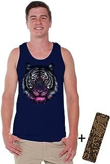 Awkwardstyles Men's Tiger Face Tank Top Animal Lover Gift Tank + Bookmark