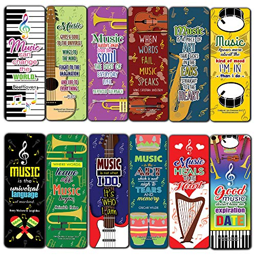 Creanoso Music Bookmark Cards (12-Pack) – Cool Musical Gift Tokens for Musicians – Premium Quality Book Page Clippers for Men, Women, Teens – Book Reading Rewards Incentives – Employee Giveaways