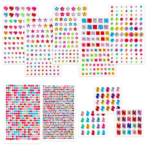 BAKHK 10 Blätter bunt Selbstklebende Strasssteine Glitzersteine zum aufkleben Schmucksteine zum Basteln Kinder Handwerk, Skizzenbuch, Bilderrahmen
