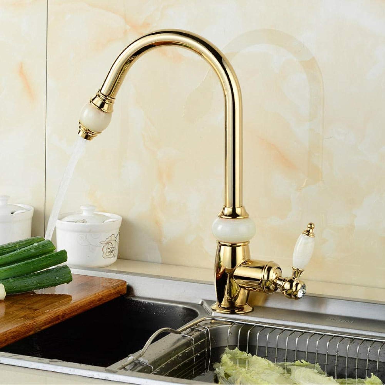Waschtischarmaturen Küchenarmaturen Küche Warm- Und Kaltwasserhahn_Brass Gold Pull-Typ Warm- Und Kaltwasserhahn Sitzen Einloch-Küchenspüle Gemischt