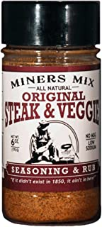 Miners Mix Steak and Veggie All Purpose Low Salt Seasoning Rub For Grilled, BBQ, Smoked, or Oven-Roasted Beef, Steaks, Pork, Lamb, and Vegetables. All Natural No MSG, Clean Ingredients 6 Oz Jar