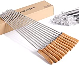 CHICHIC 16 1/2 Inch Kabob Skewers, Stainless Steel BBQ Skewers Set, Flat Barbecue Skewers, Reusable BBQ Sticks, Metal Grilling Skewers for Shish Vegetables and More, Wooden Handle, 12 Packs