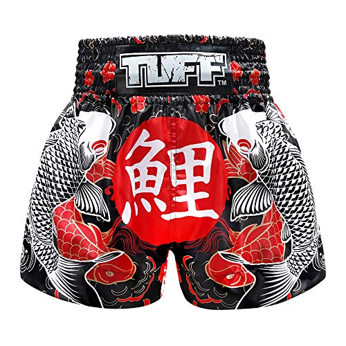 Tuff Boxing Sport Muay Thai Shorts Trunks Kick Martial Arts Training Gym Clothing, Tuf-ms638-blk, Large