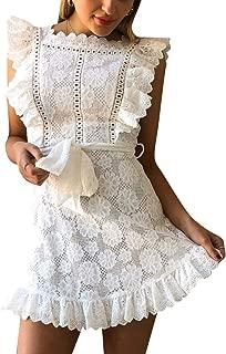Women's Elegant Lace Ruffle Mini Dress Sleevesless Cotton A-line Dress