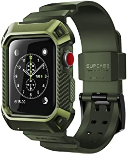 SUPCASE [Unicorn Beetle Pro] Case for Apple Watch 3, Rugged Protective Case with Strap Bands for Apple Watch Series 3 2017 Edition [42mm, Compatible with Apple Watch 42mm 2015 2016 ] (DarkGreen)