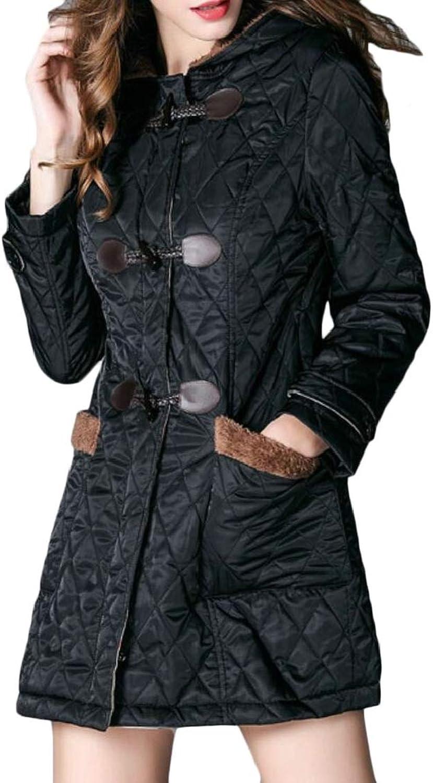 Desolateness Womens Outwear Jackets Casual Hooded Warm Button Down Parka Coats