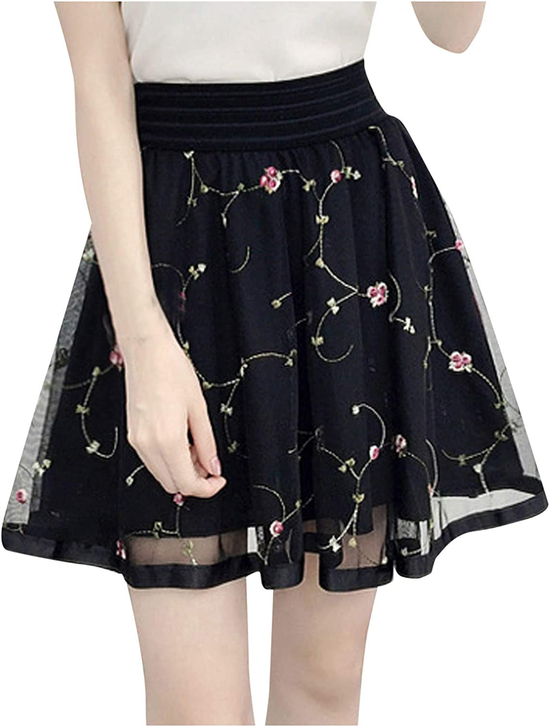 iCODOD Women Lace Floral Print Elastic Waist Short Midi Skirt Pleated Tulle Elegant Night Out Mesh Skirts for Prom Party