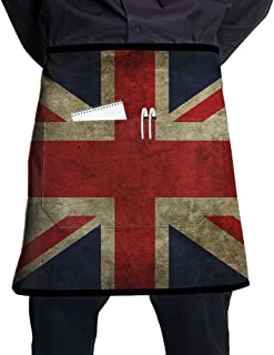 Nicokee Chef Aprons UK Flag Waist Tie Half Bistro Apron For Home Kitchen Cooking