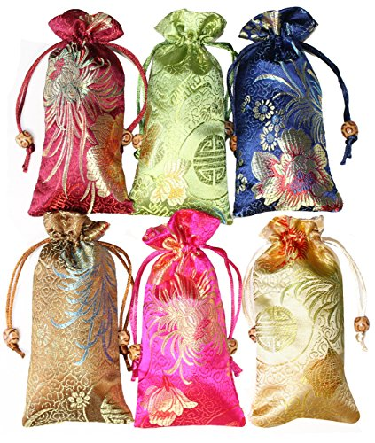 Lucore 6 Lovely Silk Brocade Pouches - 6 PC Set Quality Embossed Chinese Bead Drawstring Eyeglass Case Gift Bags