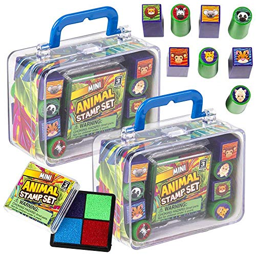 ArtCreativity Mini Zoo Animal Stamp Set for Kids, 2 Sets, Each Kit Includes 8 Animal Stampers, Multi-Colored Ink Pad, and Cute Carry Case, Best Gifts and Safari Birthday Party Favors for Boys & Girls