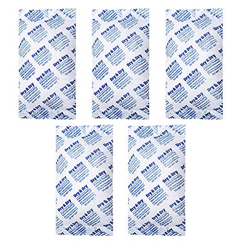 Dry & Dry 300 Gram [5 Packets] Premium Pure & Safe Silica Gel Desiccant Packeks Dehumidifier - Rechargeable Fabric Silica Packets for Moisture