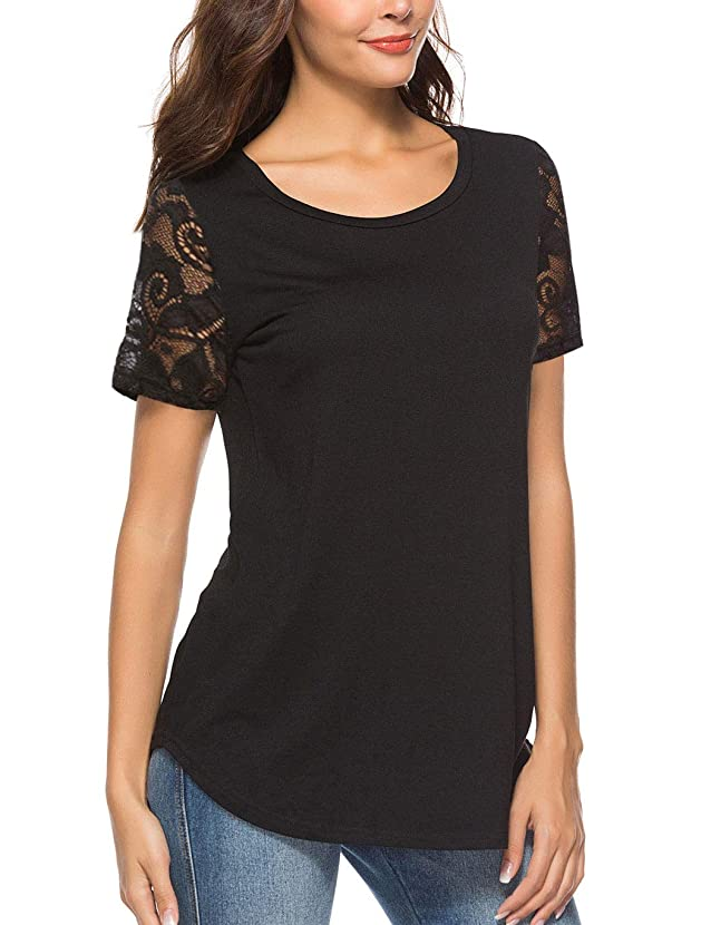 Koitmy Women's Lace Short Sleeve Round Neck T-Shirt Casual Blouse Tunics Tops