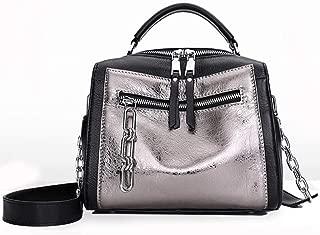 Fine Bag/Handbag Leather Designer Female Chain Multi-Function Handbag Fashion Shoulder Bag Messenger Bag Portable (Color : Silver, Size : OneSize)