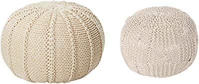 Christopher Knight Home Agatha Knitted Cotton Pouf, Beige & Knight Home Ansel Knitted Cotton Pouf, Beige