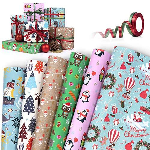Papel kraft para envolver Navidad,WolinTek 6PCS Papel Para Envolver Regalos + 2 Rollos Cuerdas,Diferentes Patrones De DiseñO Papel Para Envolver Regalos Papel Para Envolver Kraft, 50x70 cm