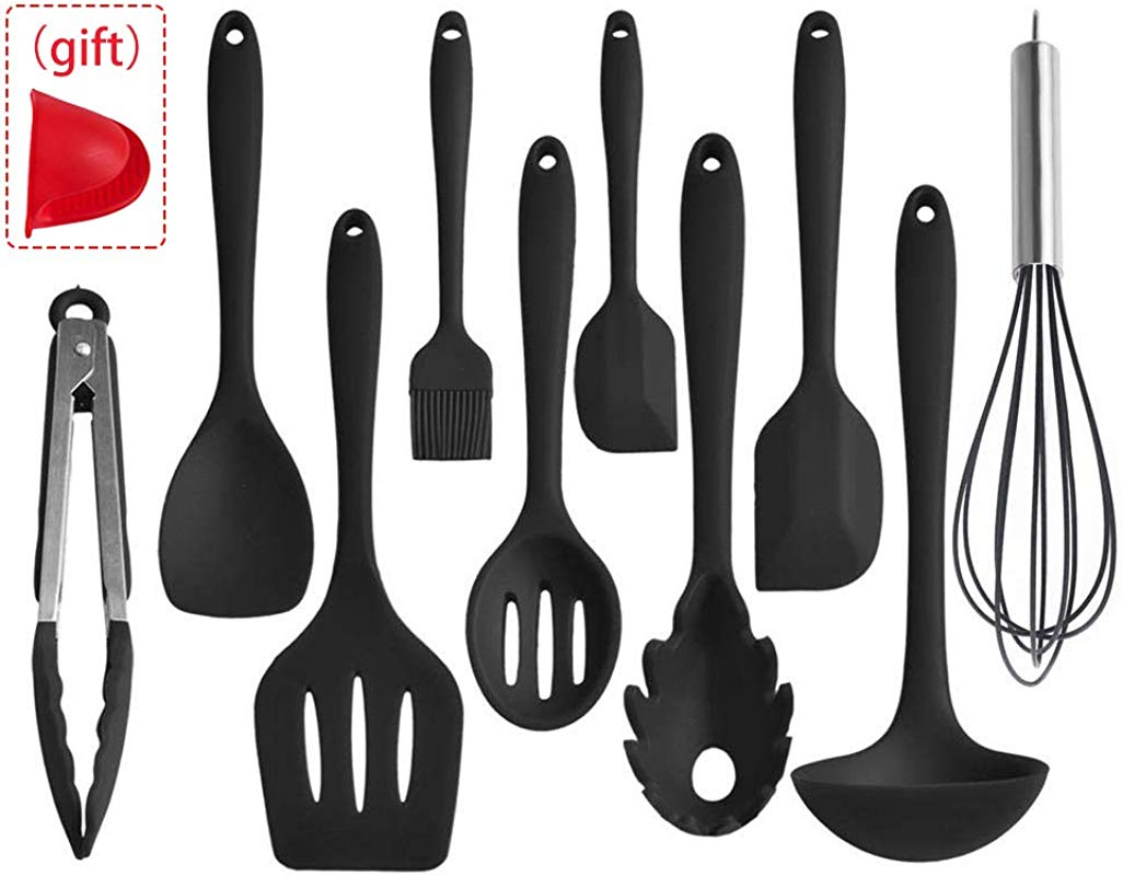 Cooking Utensils Set Silicone Black Rubber Non Stick Heat Resistant 10 Pieces Cook Utensil Set Black