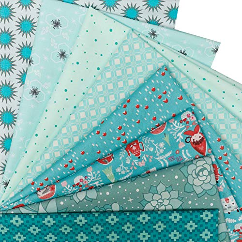 Cottfab 8pcs 100% Cotton Fabric Pattern Fat Quarters Fabric Bundle 22 x 18 Inche(55x45cm) Strong and Tightly Woven,Quilting Fabric for Sewing and Patchwork and Face Masks