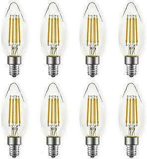 LED Candelabra Light Bulbs, Soft White 2700K, 5 Watt(60W Equivalent) 500 Lumen, E12 Base, B10 Chandelier LED Edison Light Bulbs, 8 Packs