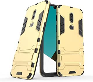 BEIXI Twofold Layer Armor Defender Shockproof Protective Severe Case with Stand for OnePlus 6, OnePlus 6 case (Color : Gold)