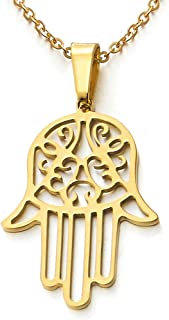 Hamsa Hand of Fatima Pendant Necklace Stainless Steel with 20 Inches Chain
