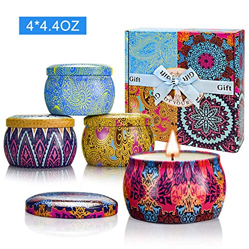 Yinuo Candle Women Scented Candles Set, 100% Soy Wax Portable Tin Candles, Stress Relief and Aromatherapy for Bath Yoga Thanksgiving Gifts Set for Mother's Day Birthday Valentine's Day