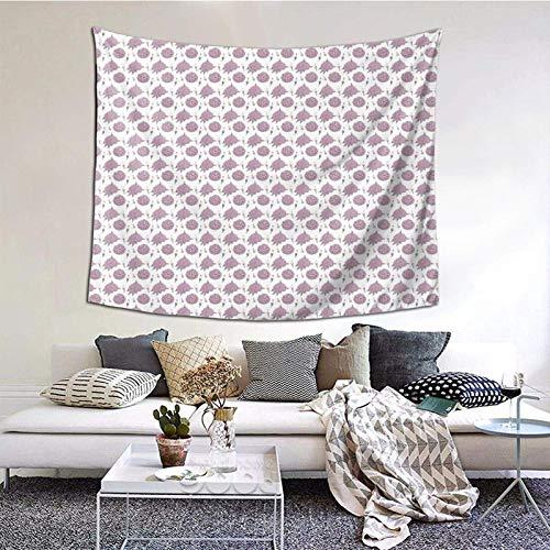 Hdadwy Tapiz de Pared Decorativo con patrón de Flores moradas, Dormitorio, Sala de Estar, Dormitorio, decoración para Fiestas, 60 x 51 Pulgadas