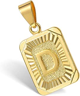 26 Gold Plated Square Capital Initial Letter Charm Pendant Necklace for Men Women Box Steel Chain 18-22inch