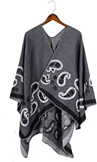 Women's Fashionable Retro Style Vintage Pattern Tassel Poncho Shawl Cape Open Front Poncho Cape Cardigan Wrap Shawl (Color : Grey)