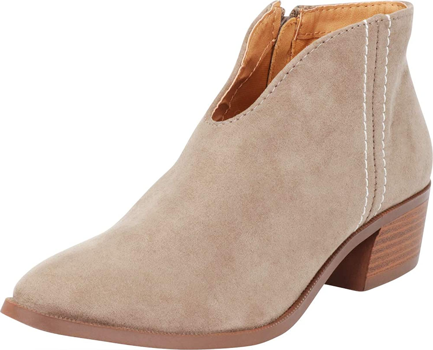 Cambridge Select Women's Western Front V Slit Chunky Stacked Block Heel Ankle Bootie