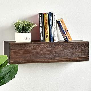 WELLAND Rustic Floating Shelf, Reclaimed Wood Wall Shelf, Wall Mounted Fireplace Mantel Shelf (Walnut, 24
