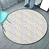 Alfombra redonda para sala de estar y comedor de 4 pies de 3 pulgadas, multicolor, acuarela de tonos pastel con setas y flores silvestres (130 cm x 130 cm)