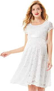 Women's Maternity Floral Lace Dress Cocktail Dress with Ribbon Waist