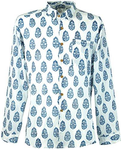 GURU-SHOP, Goa Hippie, Camisa de Hombre, Blanco, Algodón, Tamaño:XL, Camisas de Hombre