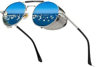 Vanlinker Steampunk Sunglasses for Women Men, Retro Round Unisex Eyewear Glasses UV400 VL9504