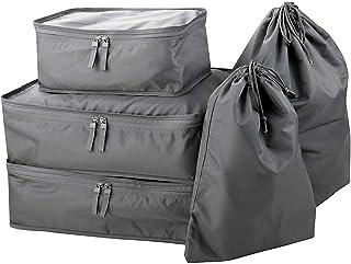 5 Set Travel Luggage Garment Packing Organizer Bags, Luggage Organizers with Shoe Bag, Drawstring Laundry Bag, Dark Gray