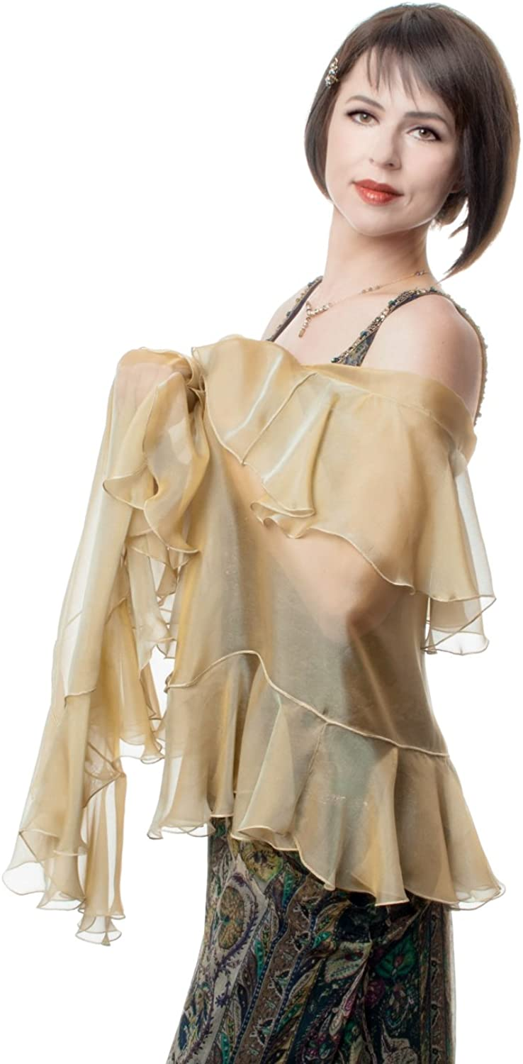 SHAWL KAMELIA. Antique gold Silk Wrap with Flounces