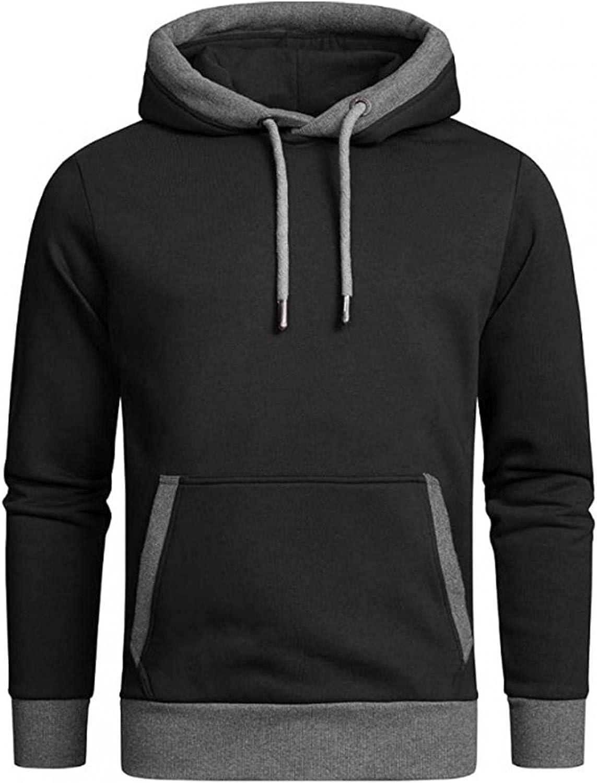Hoodies for Men Men's Solid Color Pocket Loose Casual Sports Long-sleeve Hooded Top Windproof Fashion Hoodies Sweatshirt