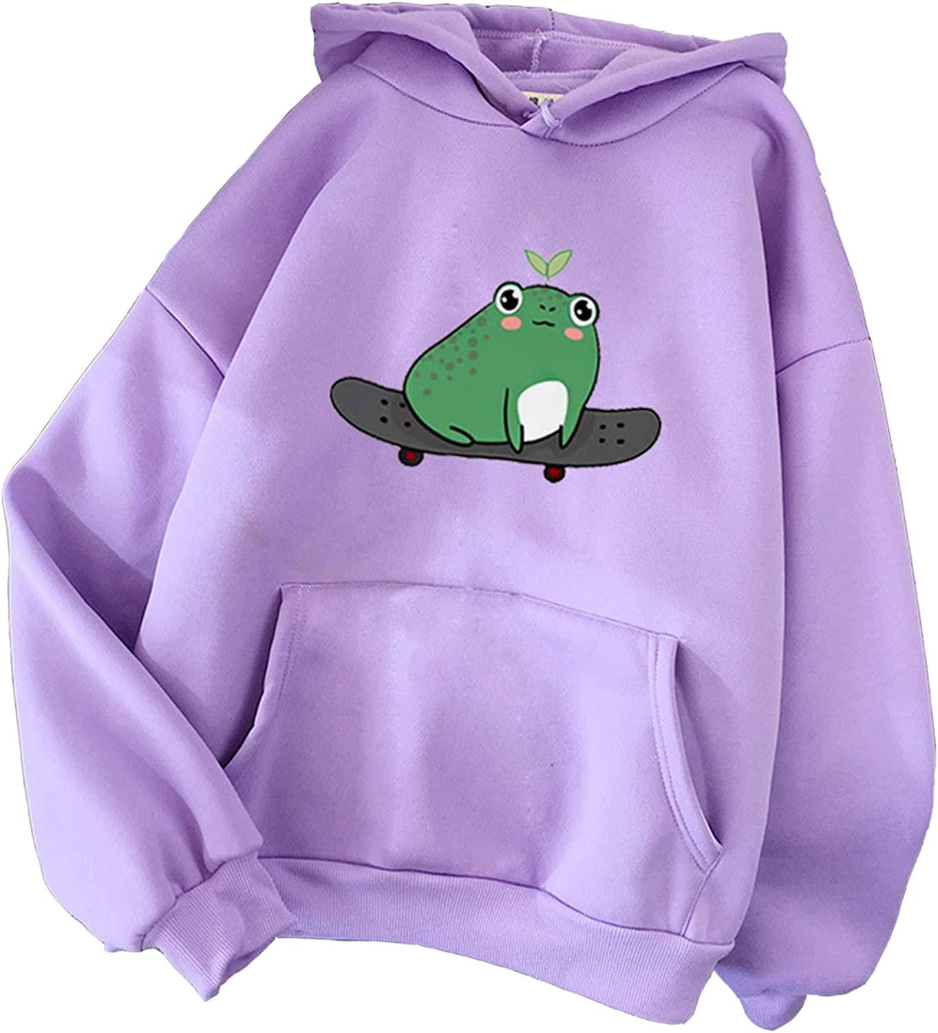 Aiouios Tops for Women Loose Fit, Hoodies for Women Pullover Graphic Cute Cartoon Frog Blouses Long Sleeve Sweatshirts