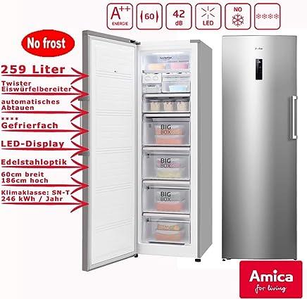 Schon Amica XL Gefrierschrank NoFrost A++ 259L Edelstahloptik 185,5cm Hoch  LED Display Eisschrank /
