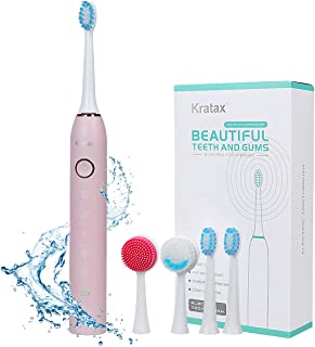 Kratax Sonic Electric Toothbrush and Facial Cleansing Brush, USB Rechargeable Toothbrush with 2 Brush Heads & 2 Facial Cleaning Head, 5 Brushing Modes with 2 Minutes Timer, IPX7 Waterproof (Pink)