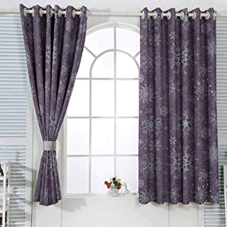 Household Curtains Eggplant Christmas Inspired Cute Flowers Snowflakes and Swirls in a Violet Delicate Environment W55x63L Inches Different Patterns Violet