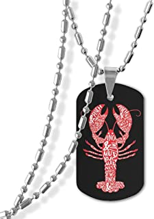 Peace Love Crawfish Pendant Military Necklace Zinc Alloy Jewelry
