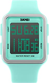 Digital Sport Watch Water Resistant Outdoor Electronic Big Face Silicone Teen Girls Women's Light Green SK1139A