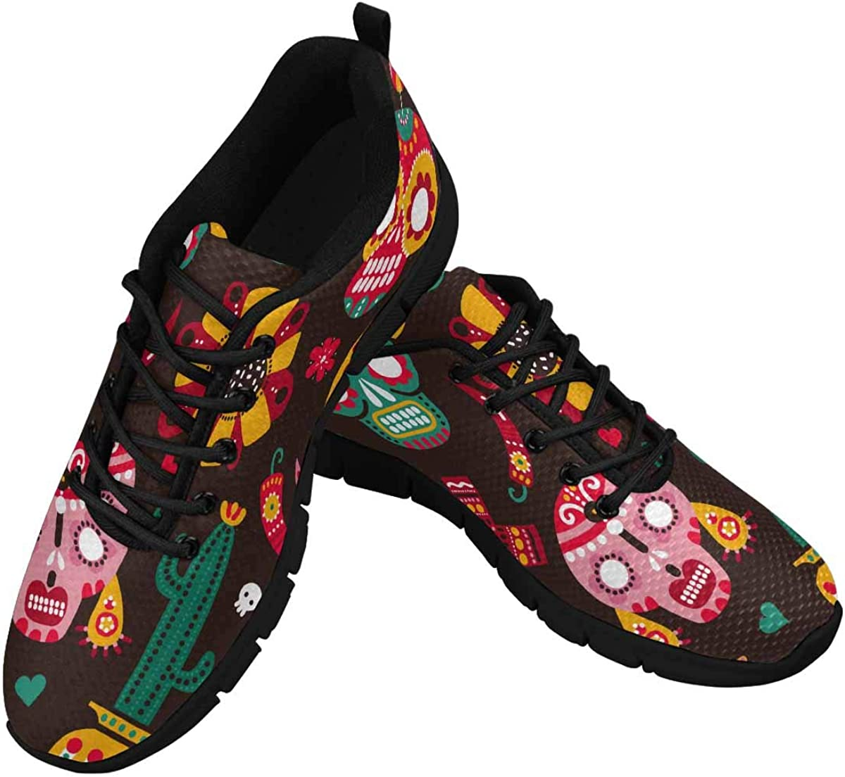 INTERESTPRINT Day of Dead Skulls, Guitar and Llama Women's Athletic Walking Running Sneakers Comfortable Lightweight Shoes