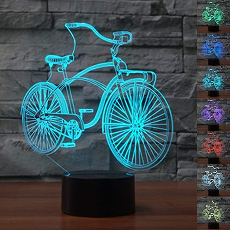 YTDZ Optical Illusion 3D Bicycle Night Light 7 Colors Changing USB Power Touch Switch Decor Lamp LED Table Desk Lamp Brithday Children Kids Christmas Xmas Gift