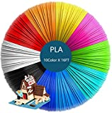 Handly 3D Pen/3D Printer Filament,1.75mm PLA Filament Refills Pack of 10 Different Colors - 10 Color Each Color 16 Feet,Total 160 Feet Lengths (10color/160ft)