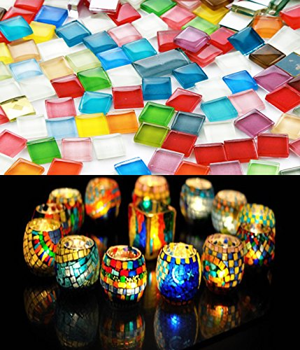 Fyess 400 Pieces Assorted Colors Mosaic Tiles Crystal Mosaic for Home Decoration Crafts Supply